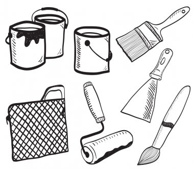 Painting accessories hand-drawn illustration