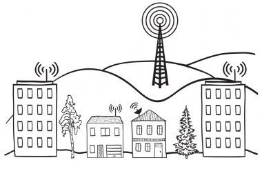 Hand drawn illustration of wireless signal of internet into houses in city stock vector