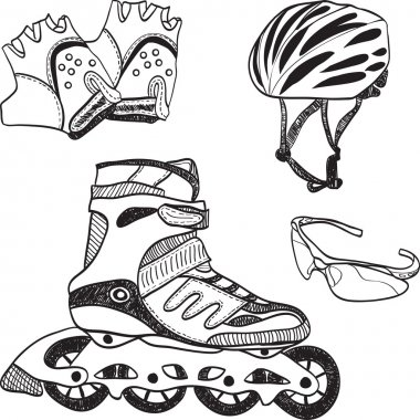 Roller skating equipment - doodle syle
