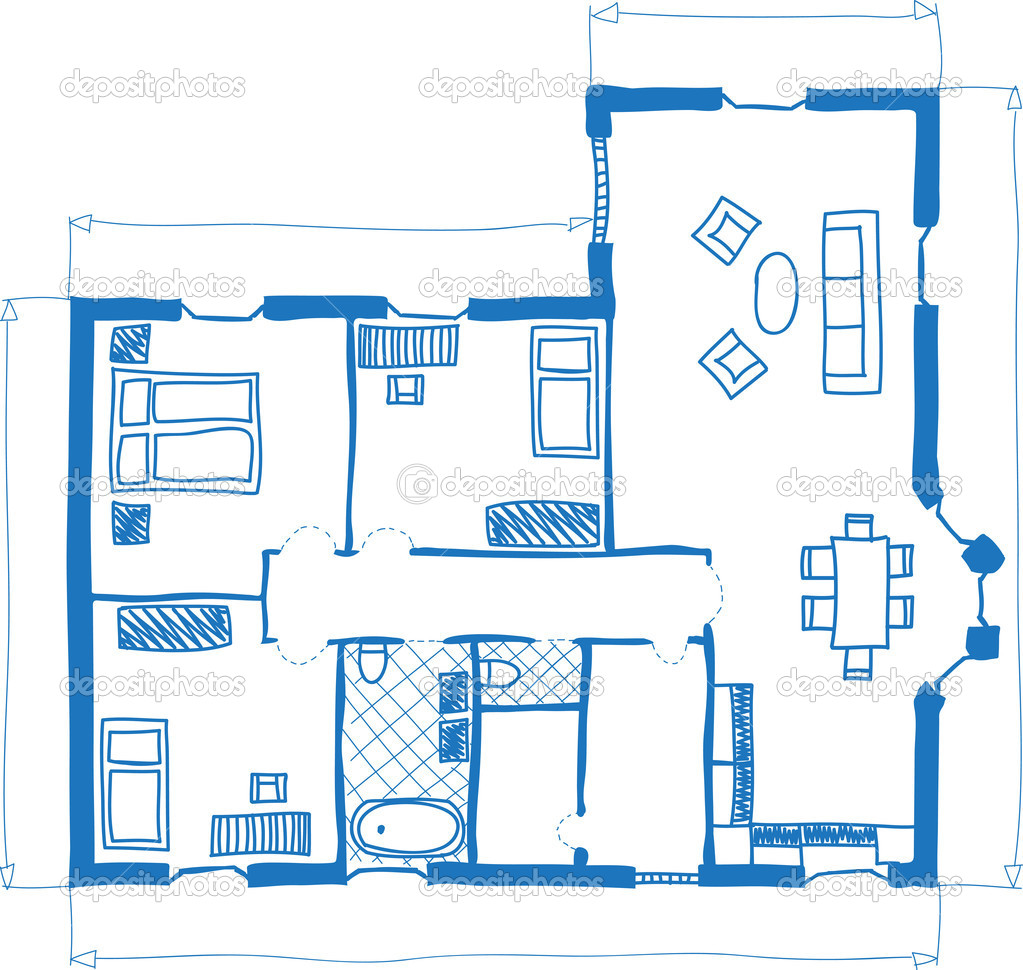 Floor plan of house doodle style — Stock Vector © kytalpa