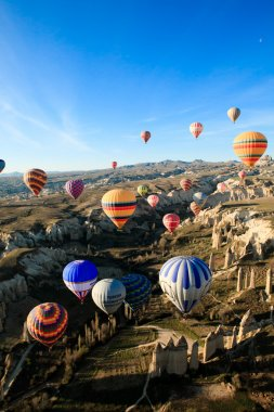 Hot air ballooning over the valley at Cappadocia, Turkey