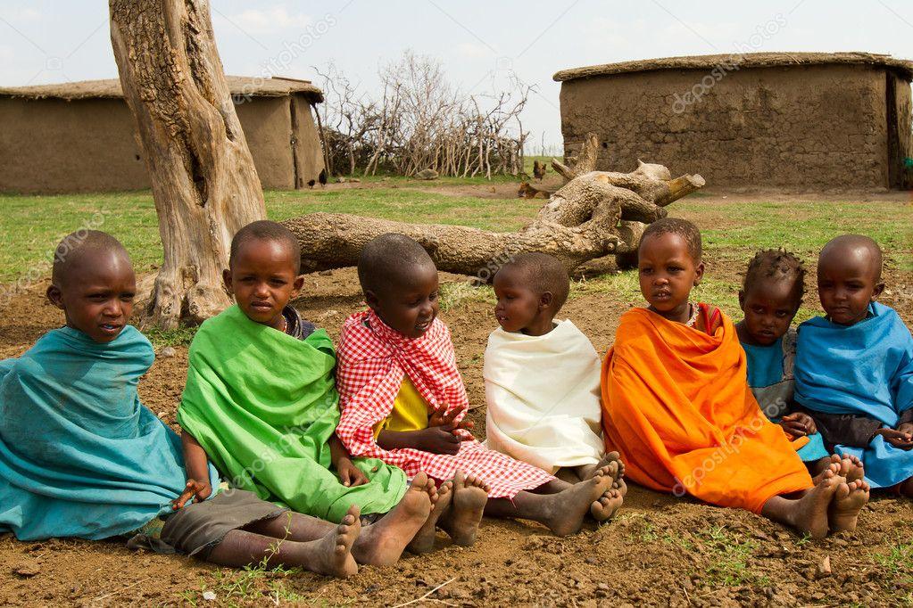 A group of lovely kenyan children of Masai