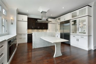 Modern kitchen with white cabinetry