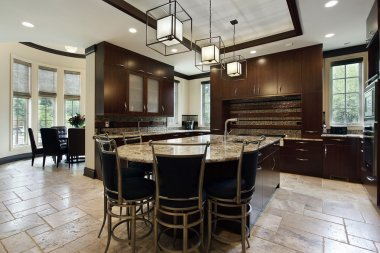 Modern kitchen with circular eating area