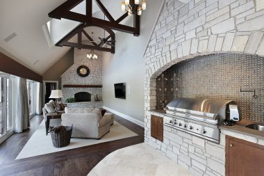 Family room with ceilling wood beams