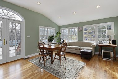 Family room with doors to deck