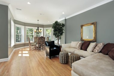 Family room with rounded table area