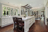 Kitchen with white granite island