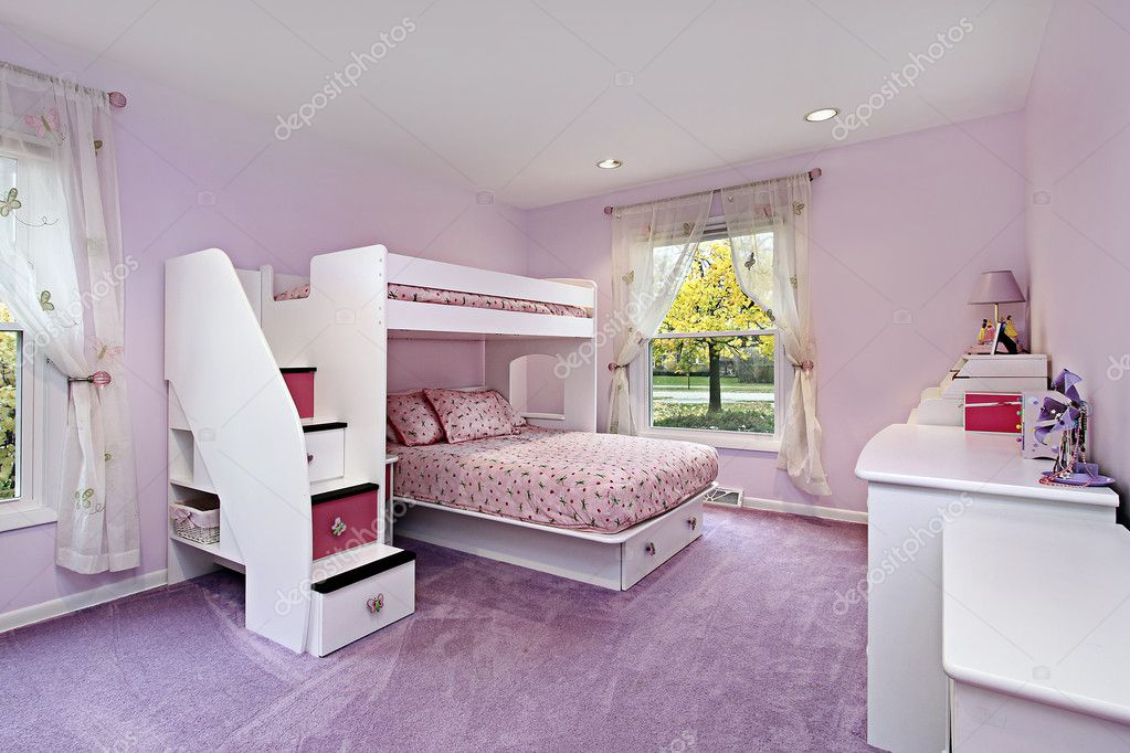 Girl 39 s room with bunk bed stock photo lmphot 8679346 for Bed dizain image
