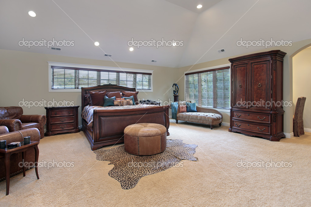 Master bedroom with tray ceiling — Stock Photo © lmphot #8679427