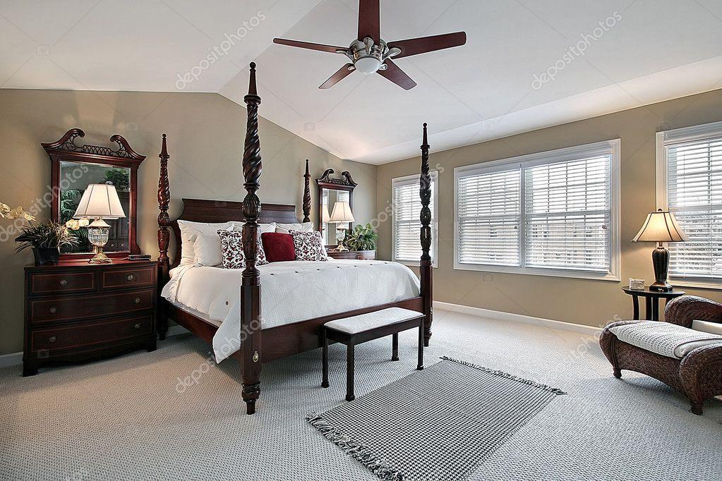 Master Bedroom With Dark Wood Furniture Stock Photo C Lmphot 8679476