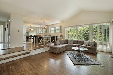 Living and dining room in split level home