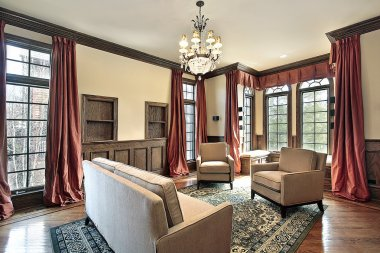 Living room with wood trim