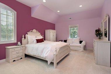 Girl's pink bedroom in luxury home