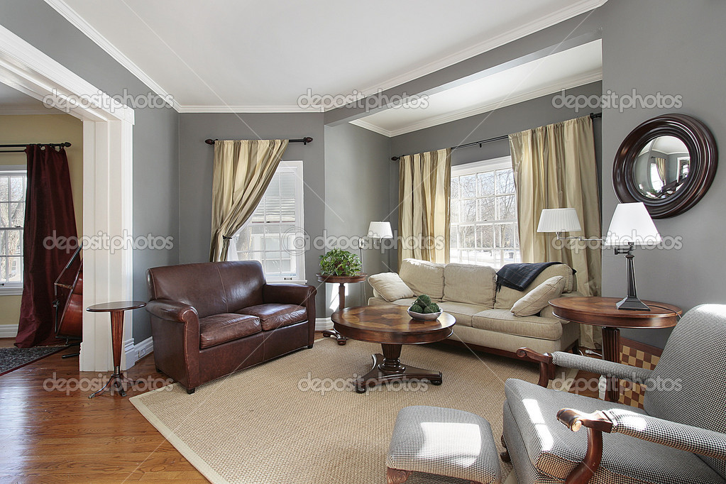 Cherry wood furniture with gray walls | Living room with ...
