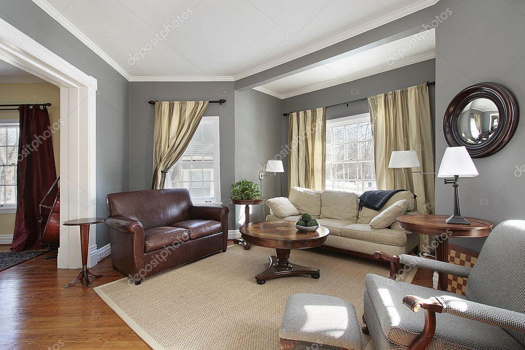 woonkamer met grijze muren — Stockfoto © lmphot #8682778