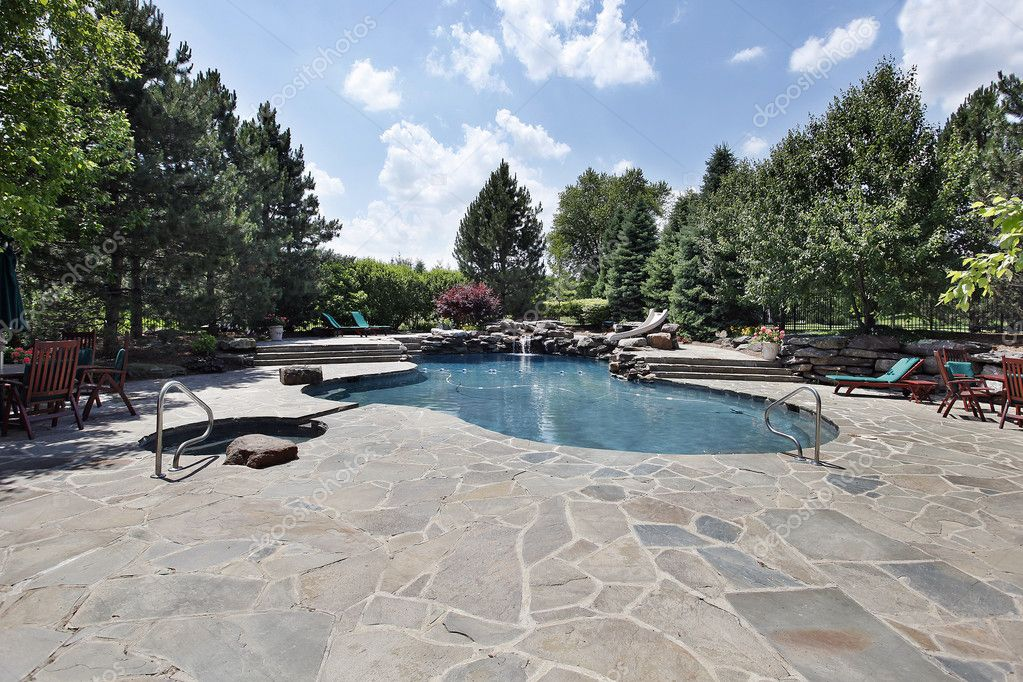 Swimming Pool With Large Stone Patio U2014 Stock Photo