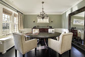 Photo Dining room with olive walls