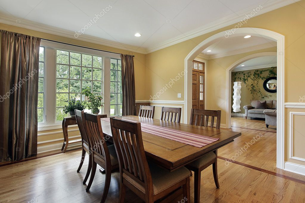 Dining Room With Yellow Walls Stock Photo Lmphot 8690034
