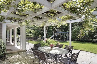 Patio with white wood beams