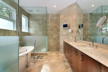 Modern master bath with glass shower