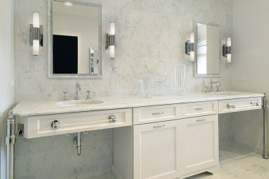 Upscale master bath with white cabinetry