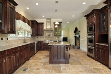 Large kitchen wood cherry wood cabinetry