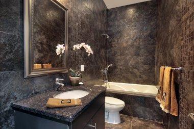Powder room with black granite walls