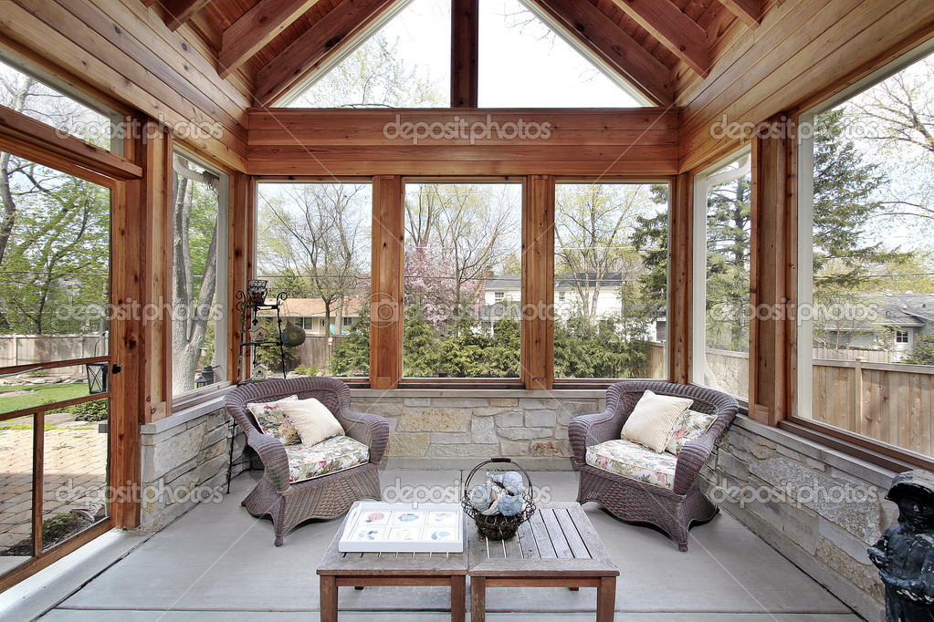 Wood porch with stone walls — Stock Photo © lmphot #8701179