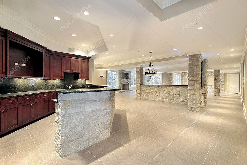 Stone Bar And Kitchen In Basement U2014 Stock Photo