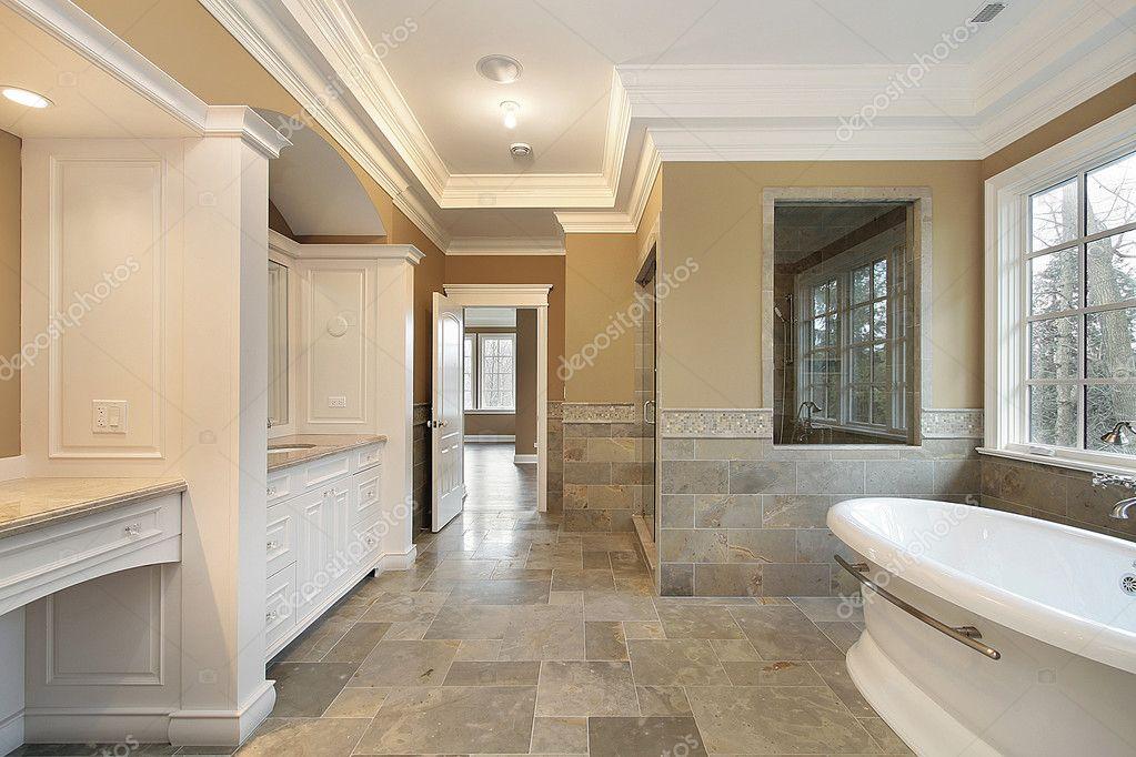 Salle De Bain Principale Avec Fenêtre En Verre Douche Photographie - Verre fenetre salle de bain