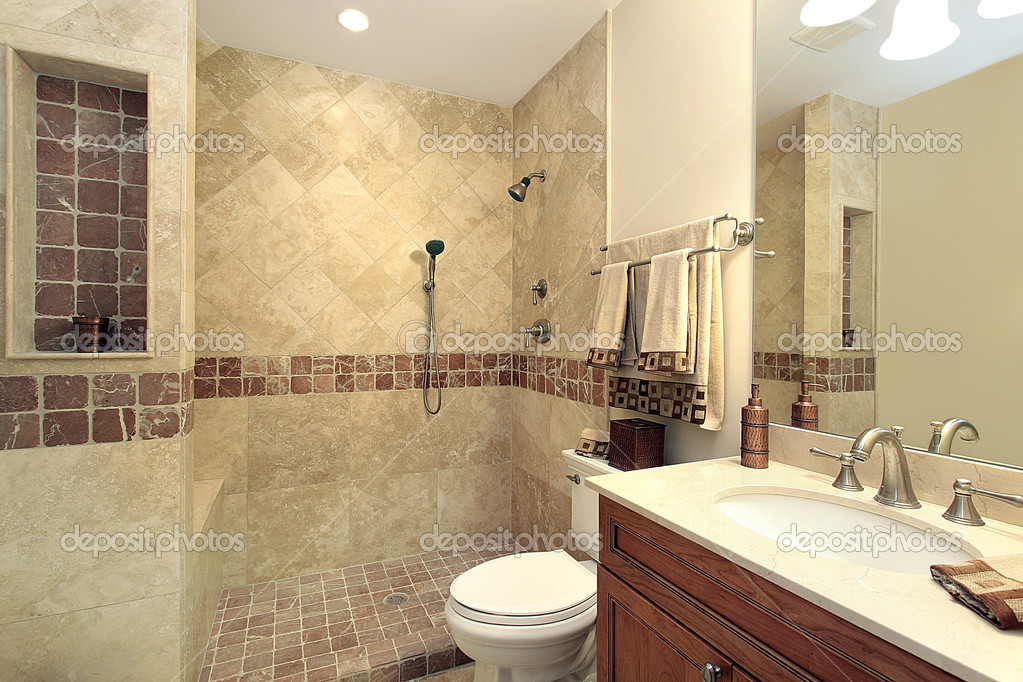 master bath in luxury home with stone shower photo by lmphot - Luxury Stone Showers
