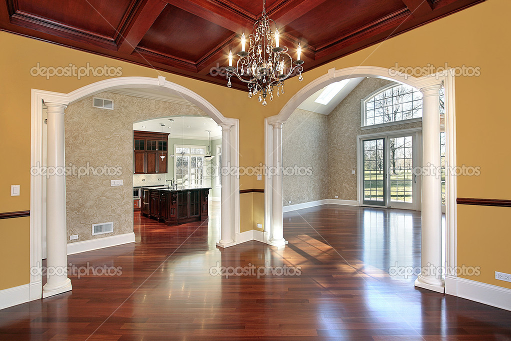Dining Room In New Construction Home With White Columns U2014 Photo By Lmphot