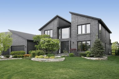 Modern gray brick home