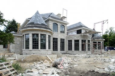 Rear view of new construction home