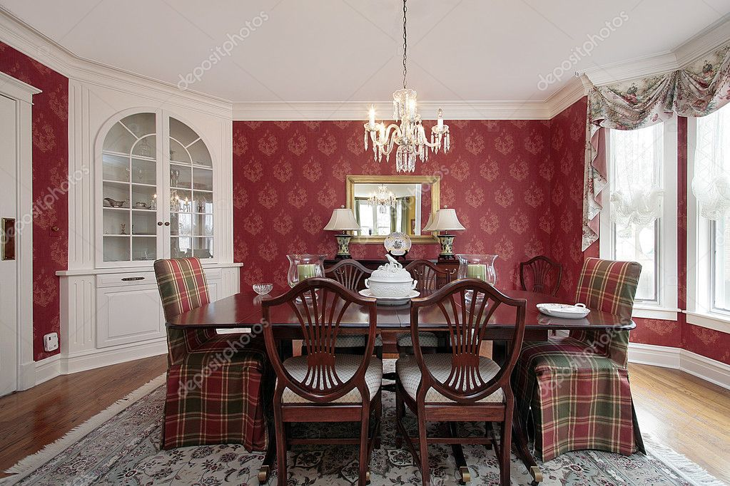comedor con paredes rojas — Foto de stock © lmphot #8710099