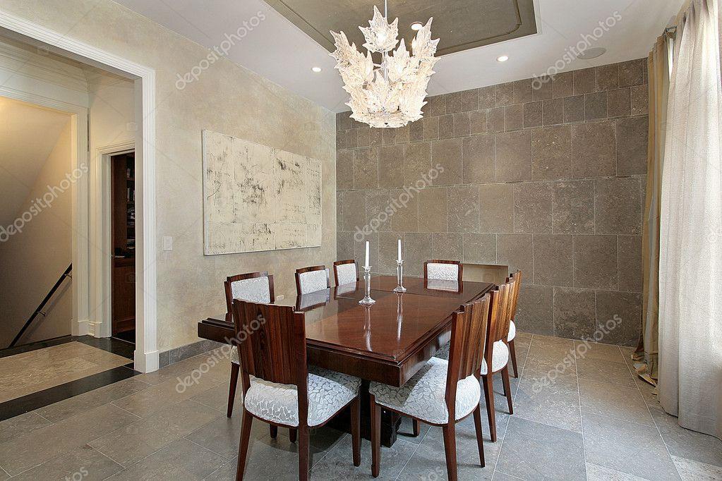 sala da pranzo con pareti in pietra — Foto Stock © lmphot #8710225