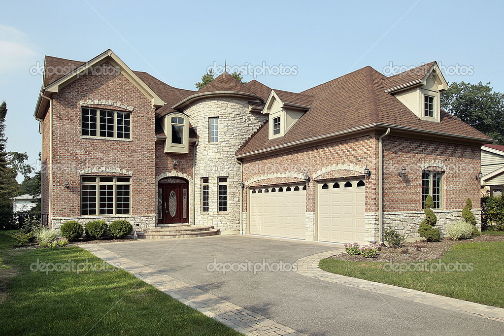 New brick home with turret