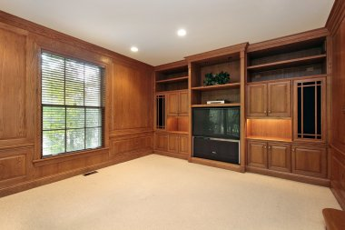 Family room with wood cabinetry
