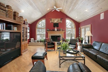 Family room with red walls