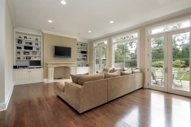 Family room with patio view