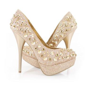 Glitter spiked golden heels