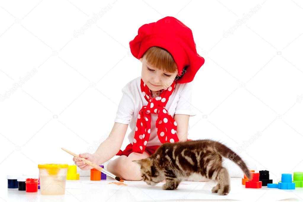 pincel pintando. filho de pequeno artista pintando com pincel. garota gatinho \u2014 fotografia stock #10488690 pincel