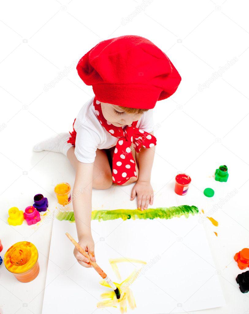 pincel pintando. criança pequena artista pintando com pincel \u2014 fotografia de stock #10488829 0