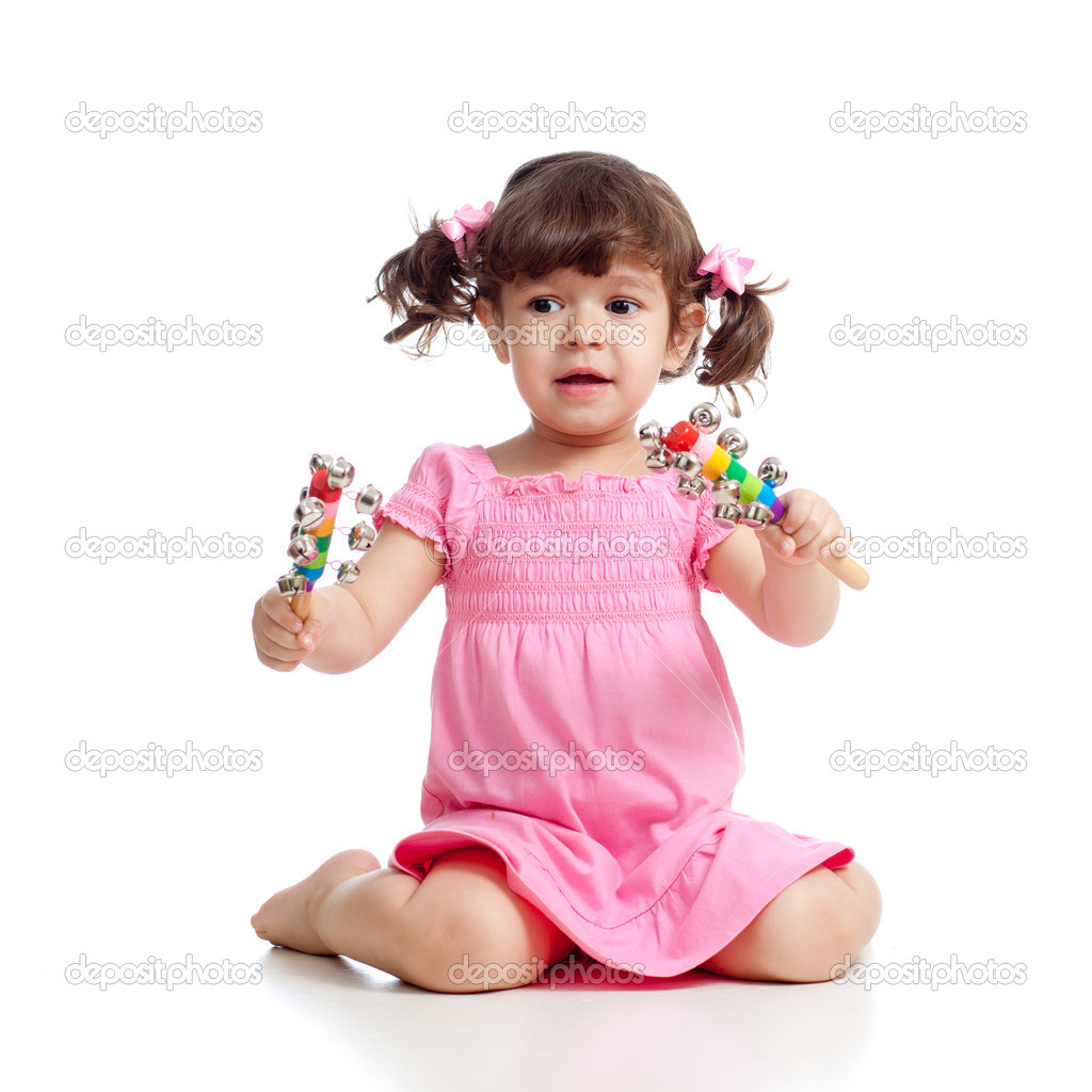 Baby Girl Playing With Musical Toys Isolated On White -5695