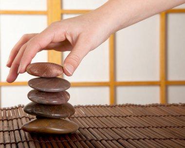 Zen stones in japanese interior