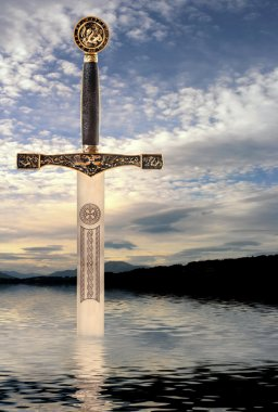 Medieval sword rising from the waters of a Scottish lake stock vector