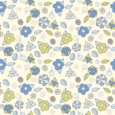 Seamless pattern with cute small flowers