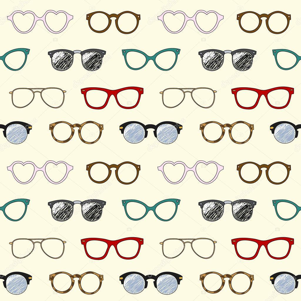 patrones sin fisuras con gafas retro y marcos — Archivo Imágenes ...