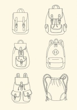 Set of retro backpacks in cartoon style